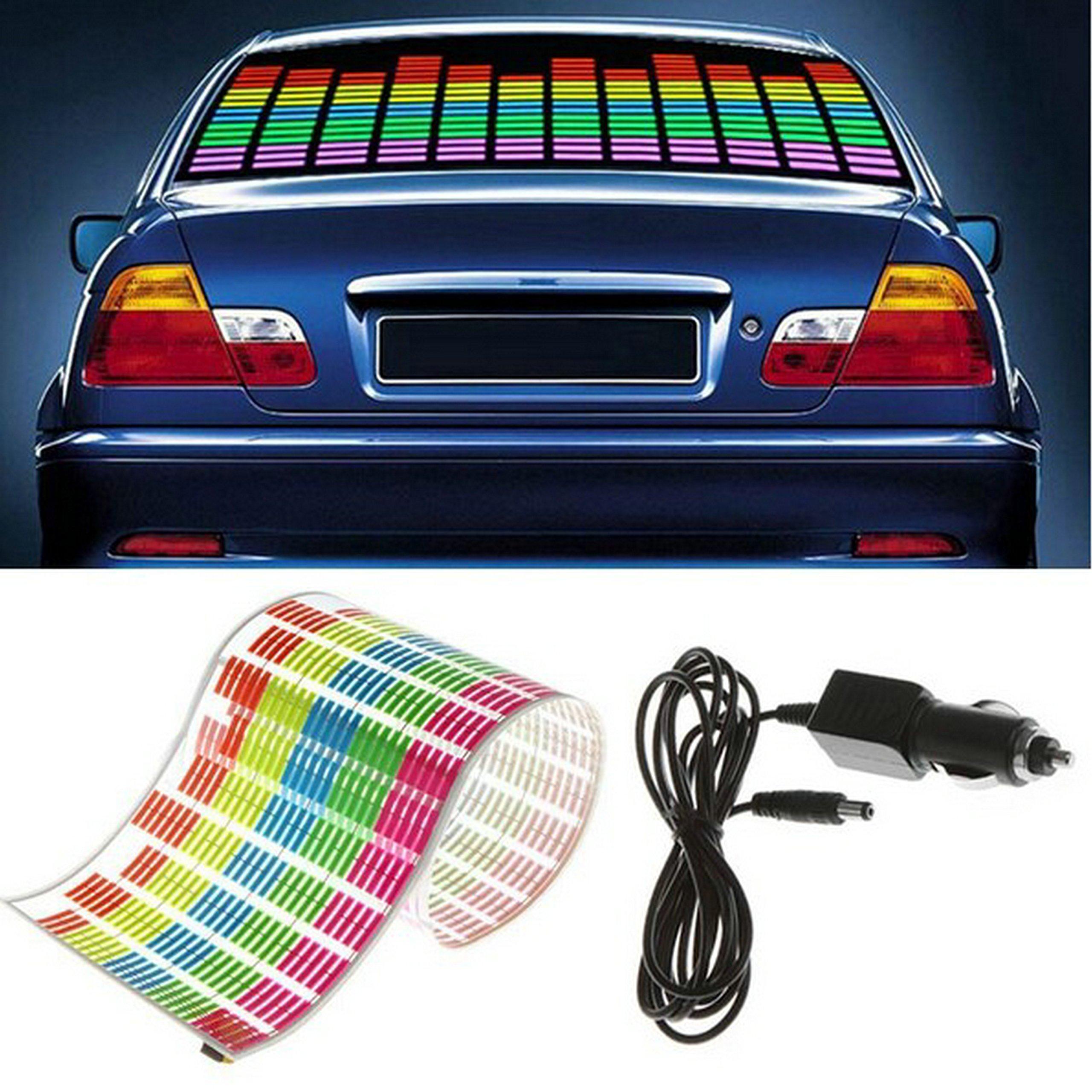Set of 90 X 25cm Sound Music Activated El Car Sticker Equalizer Glow Flash Panel LED Multi Color Decorative Light