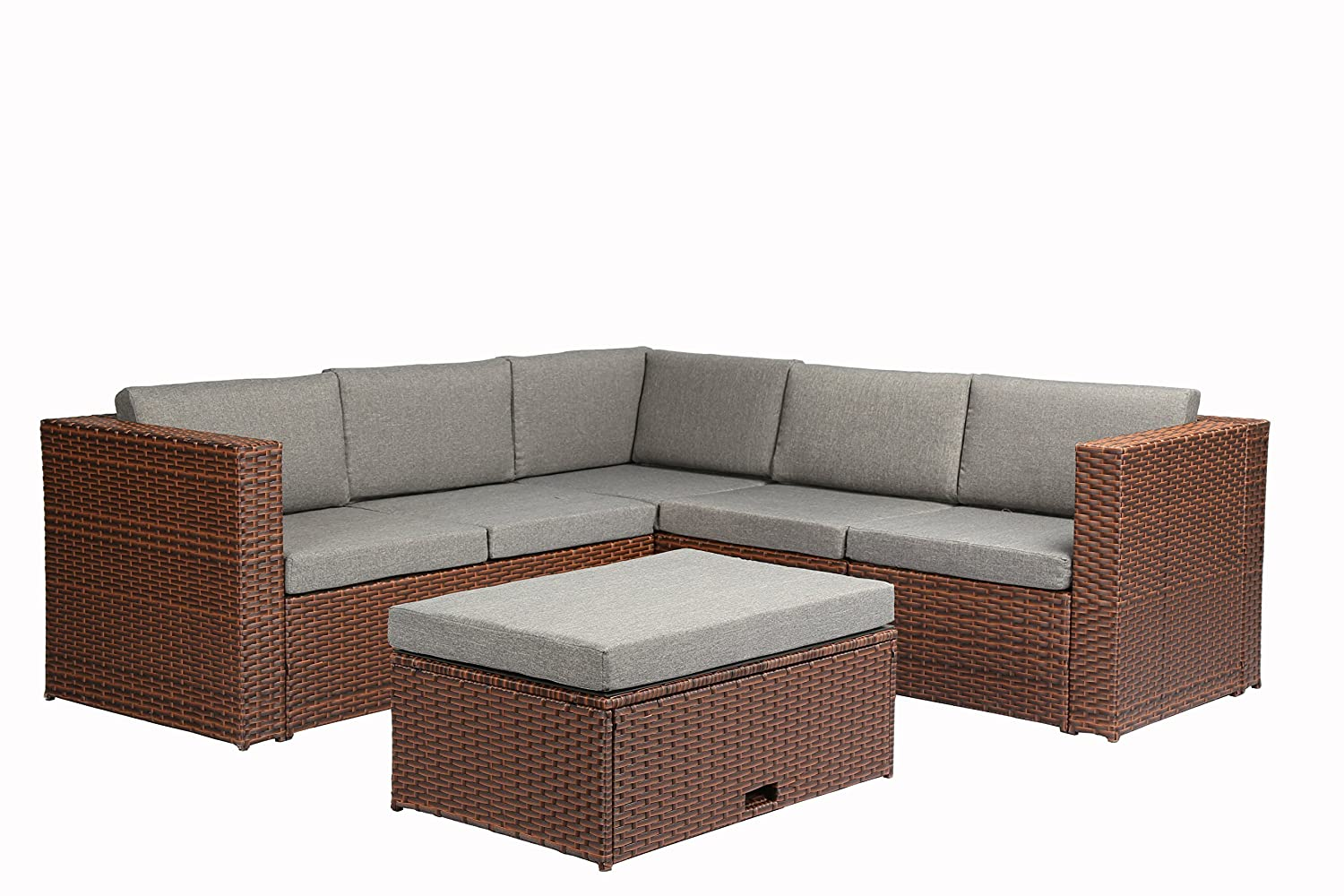Amazon.com : Magari Furniture MAG35 BR Complete Patio Garden 4 Piece Deep  Seating Group Set With Cushion, Brown : Garden U0026 Outdoor