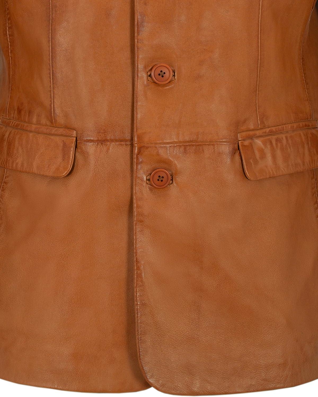 Mens Leather Blazer Tan Classic Italian Tailored Soft Lambskin Leather Slim Jim
