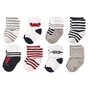 Luvable Friends Unisex Baby Socks, Boy Nautical 8-Pack, 0-6 Months