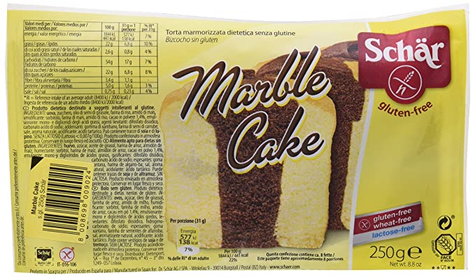 Dr. Schar Marble Cake Plum Cake - Pastel marmoleado, 250 gr, paquete de 2