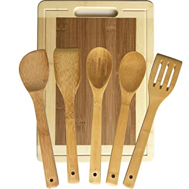 Talented Kitchen Bamboo Cutting Board w/5 Bamboo Utensil Set. Extra Large 15x11  All-Natural High Grade Bamboo Chopping Board w/Drip Groove and Handle. 5 Premium Flatware Serving Utensils Set