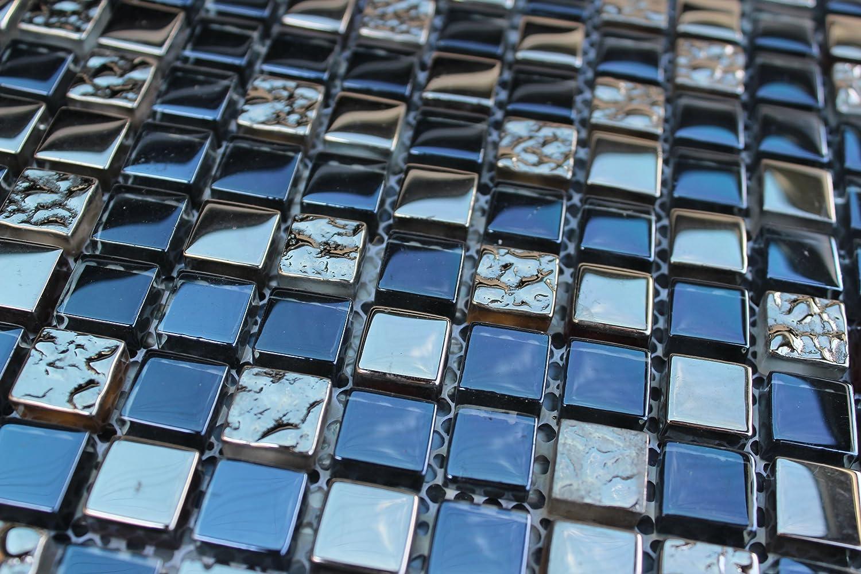 10 SHEET 10 SQUARE FEET Blue Silver Mosaic Tiles Mesh Sheet Glass ...
