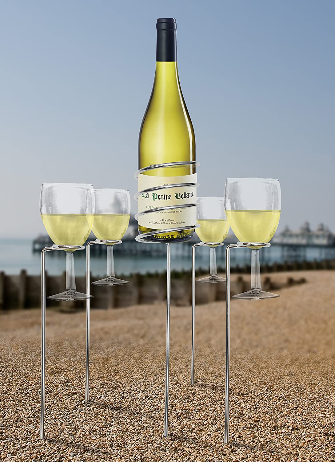 Camping and Picnics Adjustable 4 Wine Glass Holders and 1 Wine Bottle Holder for Garden Parties Wine Bottle and Glass Holder Set