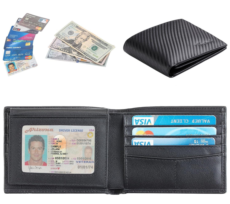 Travelambo - Cartera de piel auténtica con bloqueo RFID para hombre, negro (2 Id Window Carbon Leather Black), Talla única: Amazon.es: Zapatos y ...
