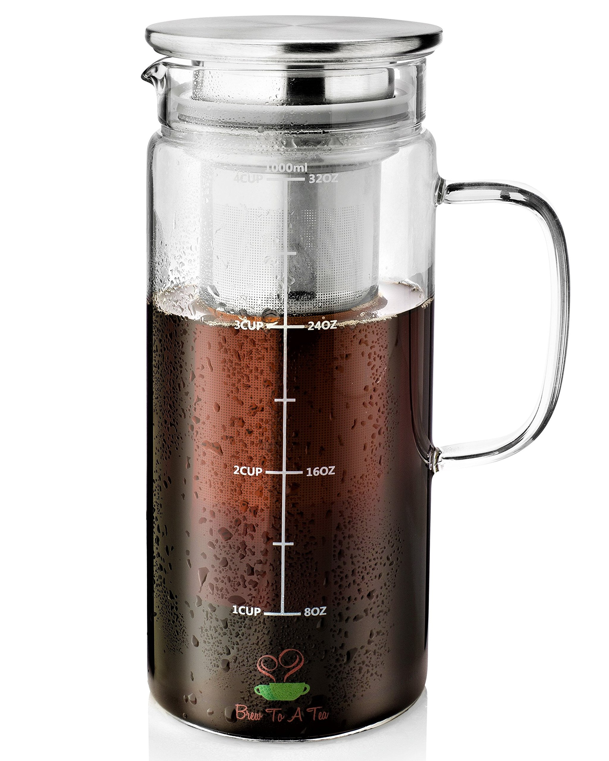 BTäT- Cold Brew Coffee Maker, 1 Quart,32 oz Iced Coffee Maker, Iced Tea Maker, Airtight Cold Brew Pitcher, Coffee Accessories, Cold Brew System, Cold Tea Brewing, Coffee Gift by Brew To A Tea