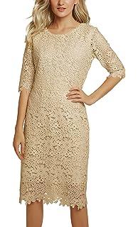 Urban GoCo Abito Donna Vestito Pizzo Elegante Manica Corta Midi Dresses  Vestiti per Cocktail Cerimonia Partito b81f6e67f99