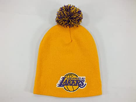 11e7d68c394 Image Unavailable. Image not available for. Color  New Era Los Angeles  Lakers NBA Adult Winter Knit Cuffless Knit Beanie with POM ...