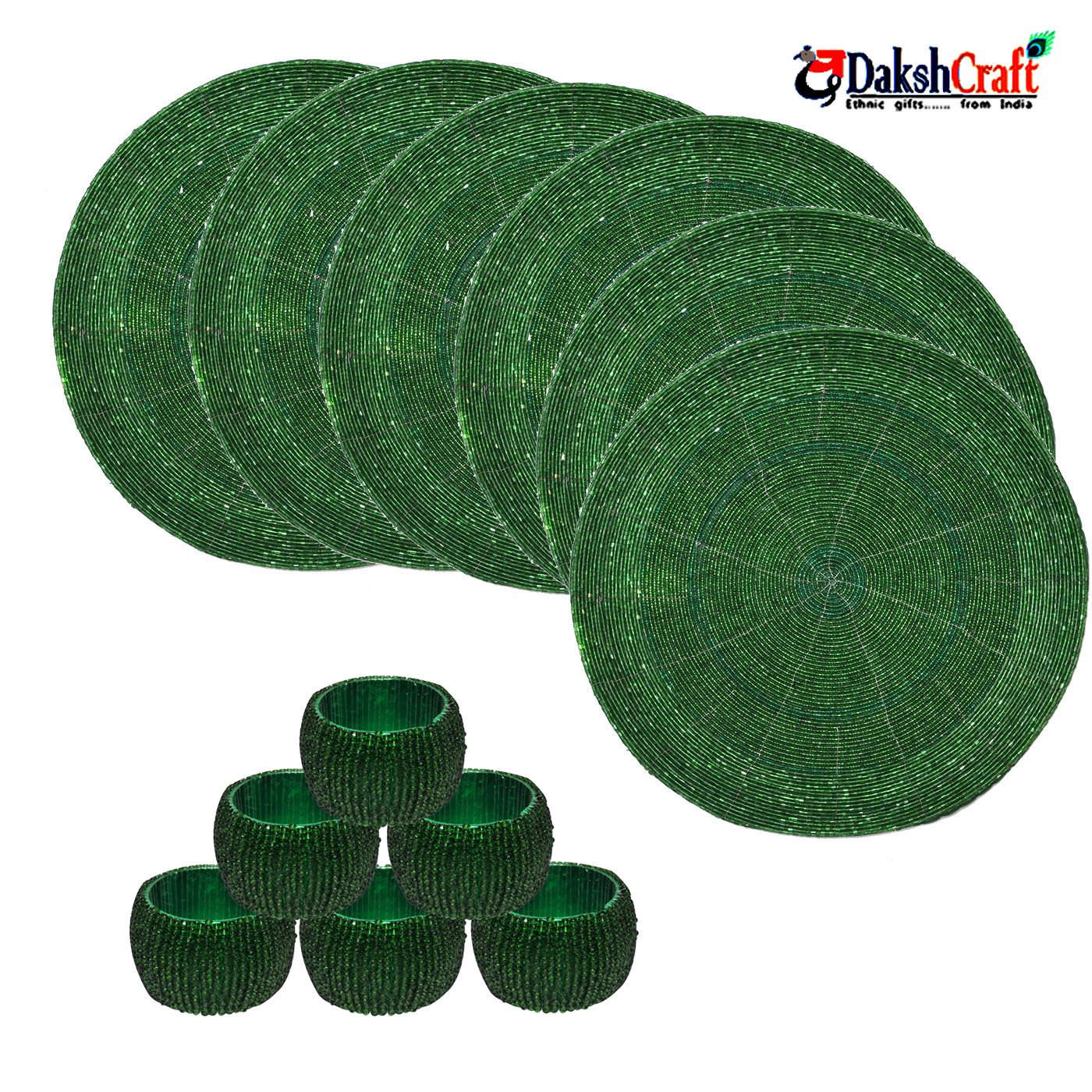 Christmas Tablescape Décor - Green Beaded Placemats & Napkin Rings Set of 6 Each