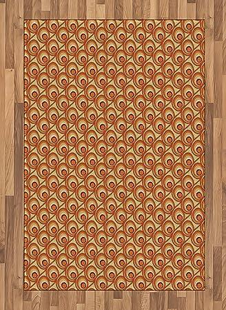 Amazon Com Ambesonne Burnt Orange Area Rug Retro Design