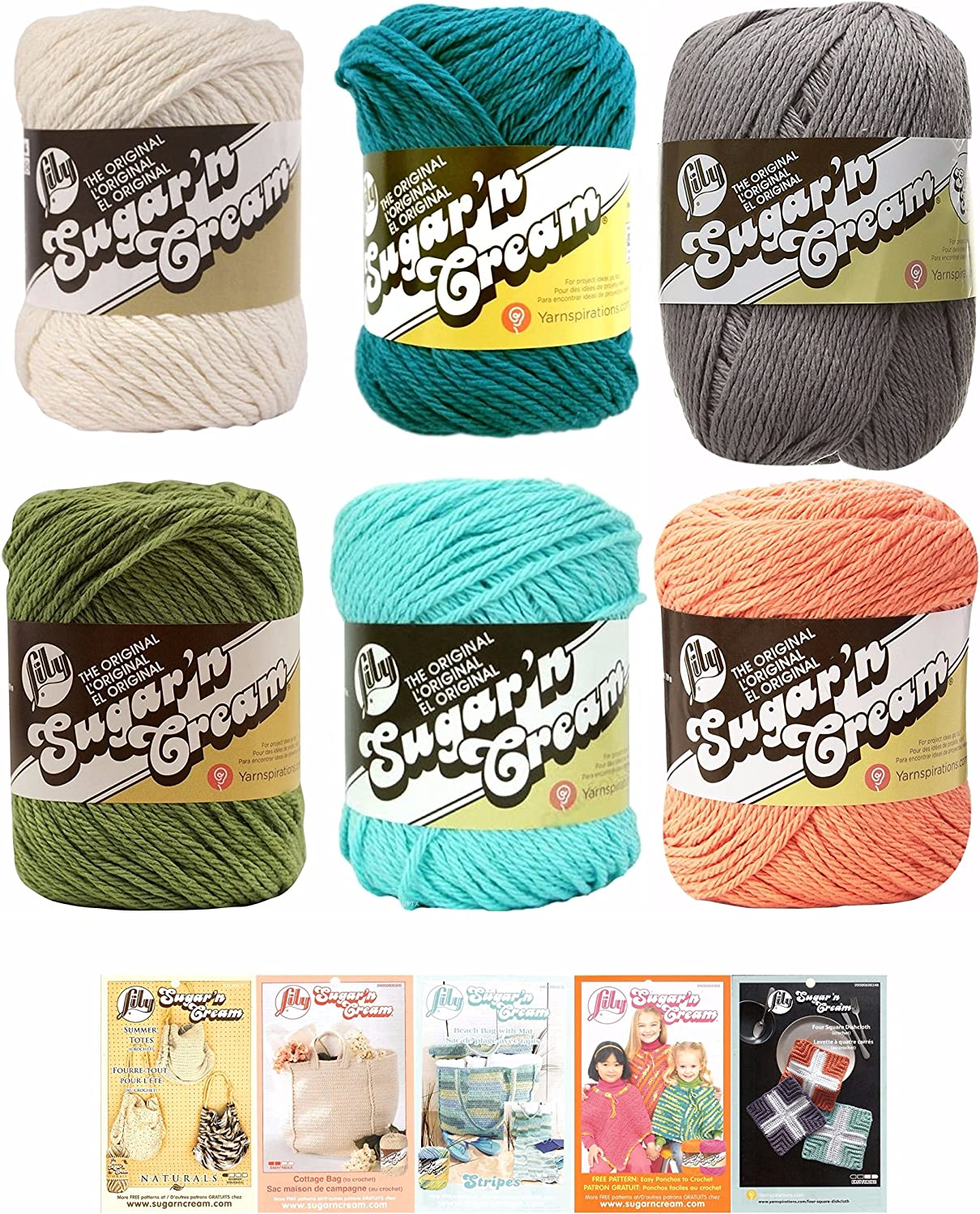 Lily Sugar N Cream Variety Assortment 6 Pack Yarn Bundle With 5 Patterns 100 Percent Cotton Medium 4 Worsted Multicolor