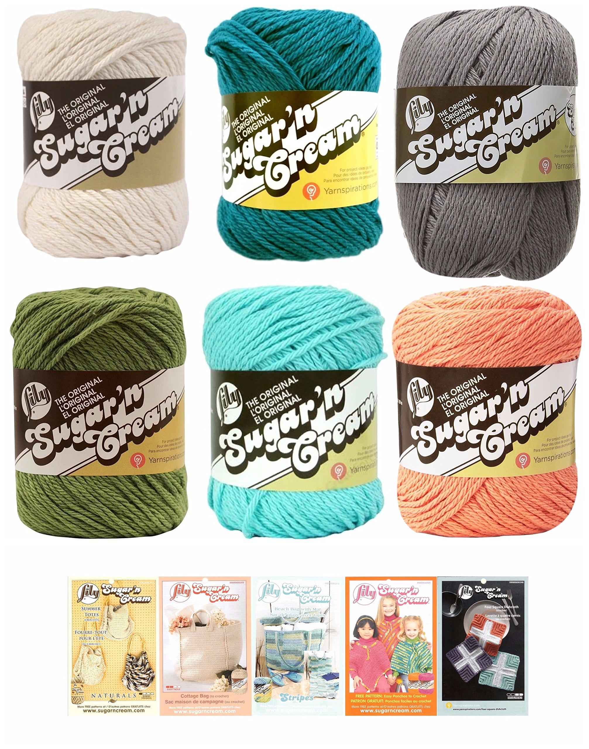 Lily Sugar N Cream Variety Assortment 6 Pack Yarn Bundle With 5