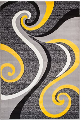 Summit 39 Yellow Grey Swirl Area Rug Modern Abstract Many Sizes Available , 22 inch x 7 foot hall way runner