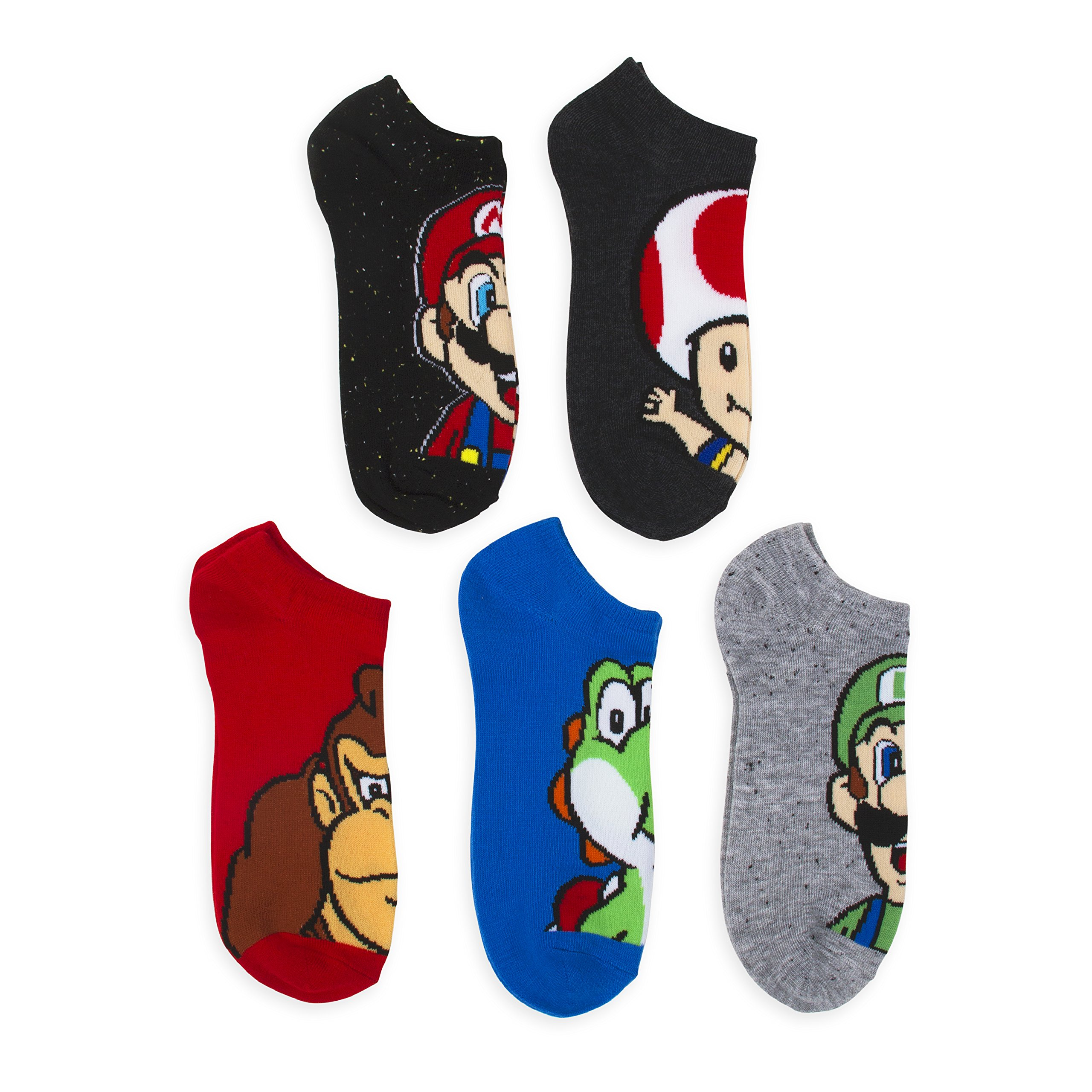 Super Mario Bros.Speckled Fleck 5 Pk No Show Socks (9-11)
