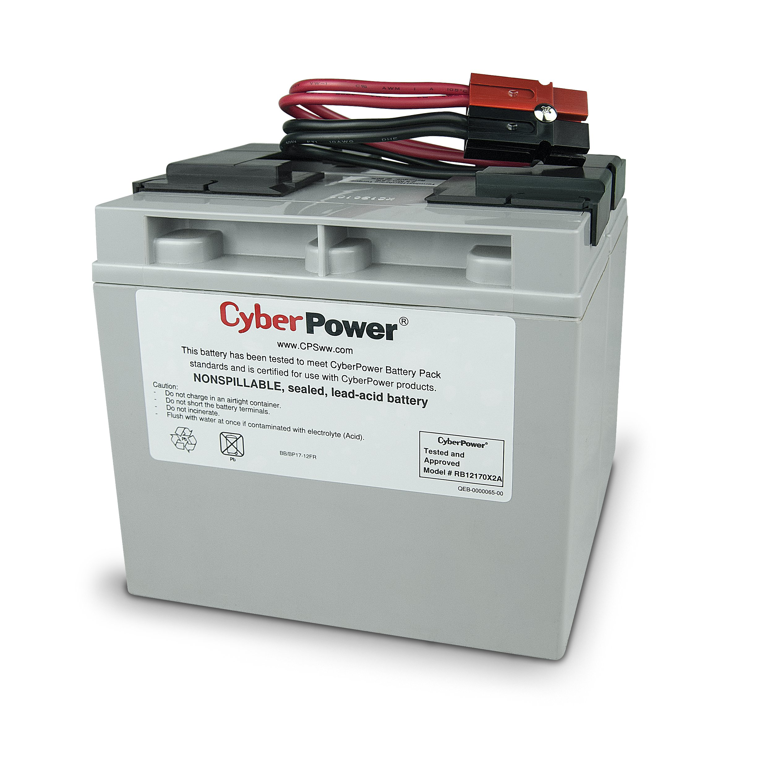 CyberPower RB12170X2A Replacement Battery Cartridge, Maintenance-Free, User Installable
