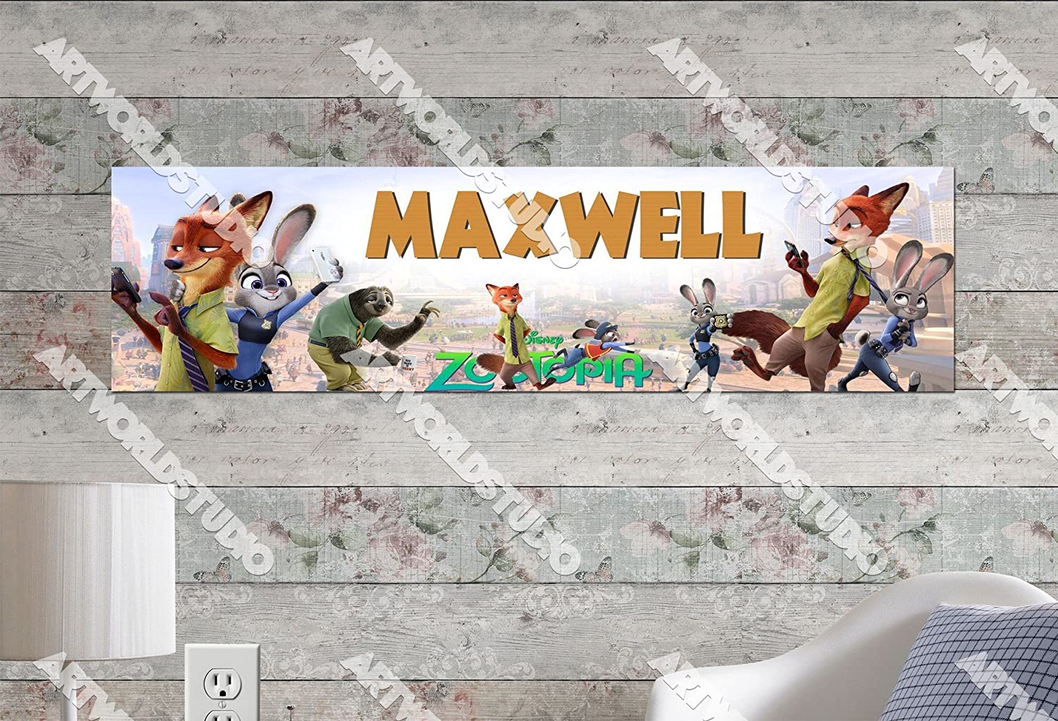 Birthday Party Banner Customize With Your Childs Name Zootopia 8.5x30 Personalized Name Poster