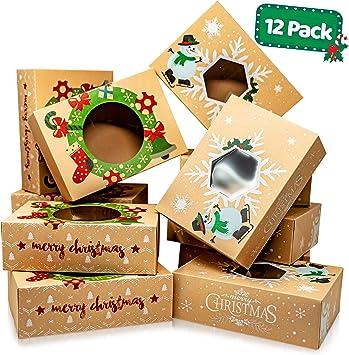 Cajas de galletas navideñas con ventana – Paquete de 12 unidades ...