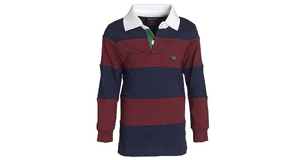 5f28c49d3833 comSportoli Boys 100% Cotton Wide Striped Long Sleeve Polo Rugby Shirt