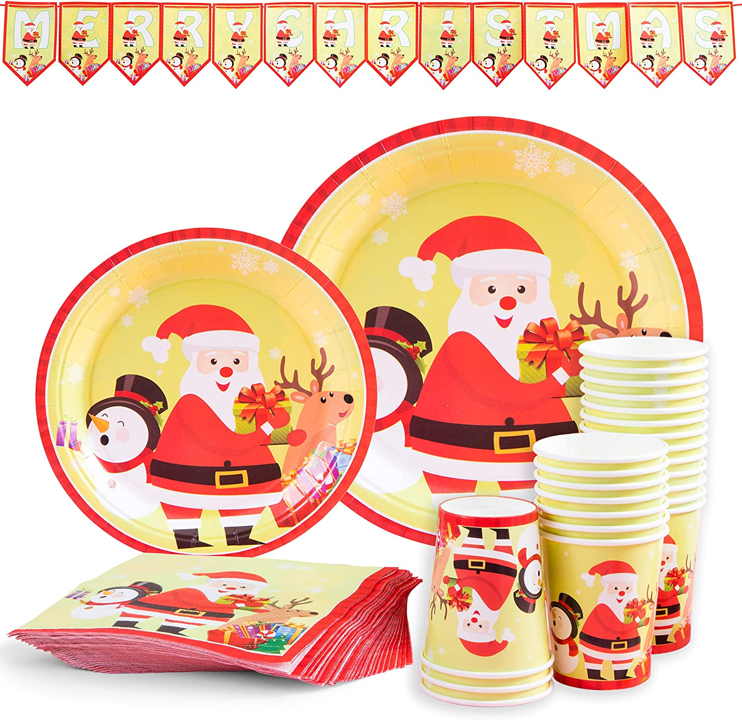 Serves 24 Banner Paper Cups PartyFun Christmas Paper Plates Disposable Dinnerware Set Christmas Party Supplies Set Christmas Party Decoration Includes Paper Plates Napkins Style 2