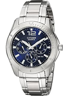 Citizen Mens Stainless Steel Watch With Blue Dial