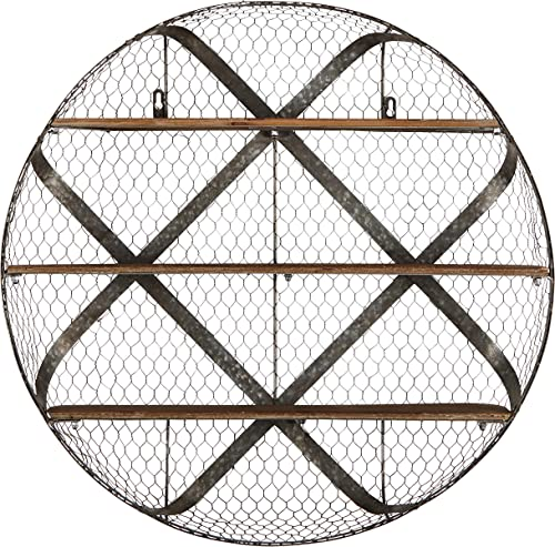Stone Beam Rustic Round Metal Mesh Hanging Wall Shelf Unit with 3 Shelves – 30 Inch, Natural Wood and Galvanized Iron