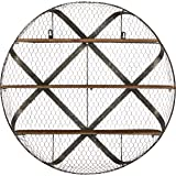 Stone & Beam Rustic Round Metal Mesh Hanging Wall Shelf Unit with 3 Shelves - 30 Inch, Natural Wood and Galvanized Iron