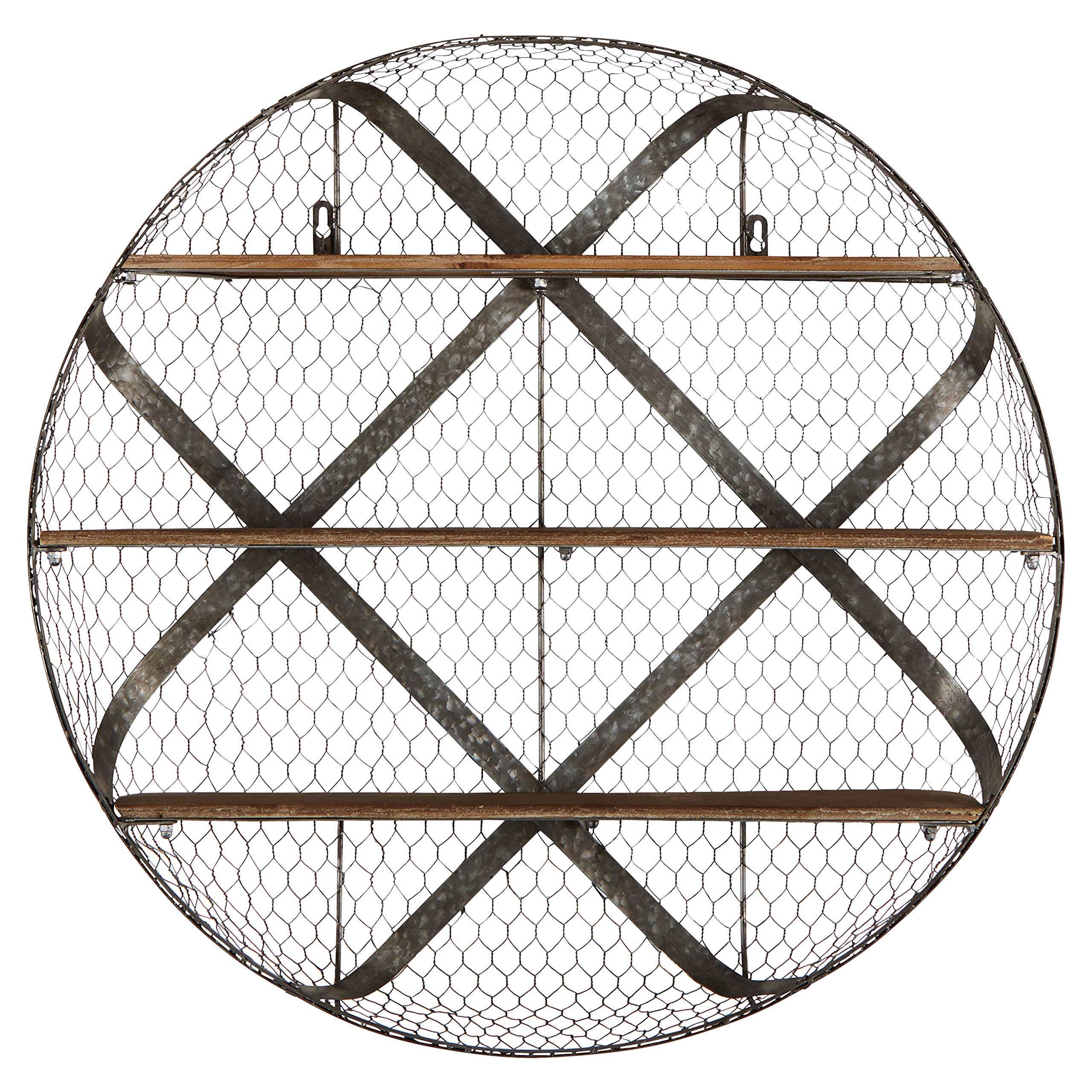 Stone & Beam Rustic Round Iron Mesh Shelf Unit with 3 Wood Shelves, 30.12''H, Natural Wood, Galvanized Iron