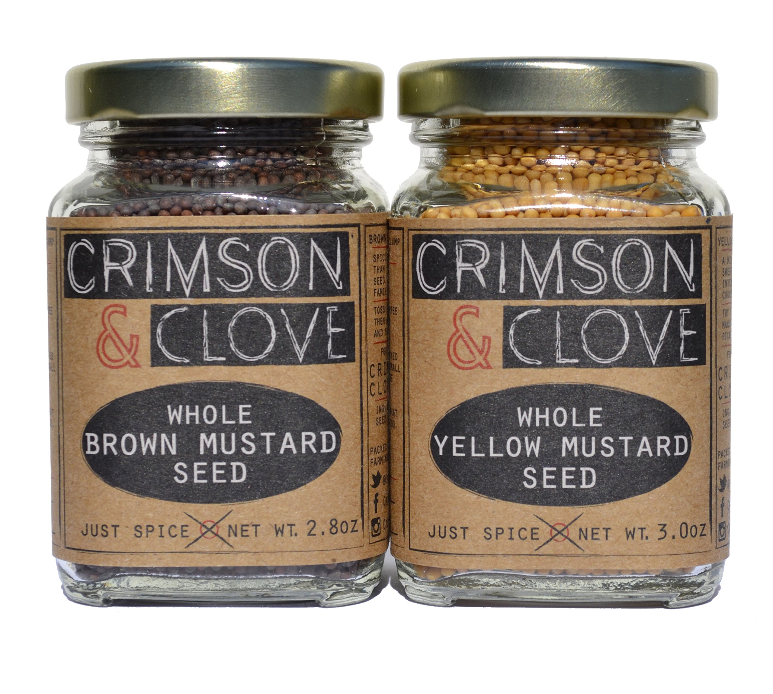 Mustard Seed Gift Set by Crimson and Clove. Brown Mustard Seeds (3 oz.) and Yellow Mustard Seeds (2.8 oz.)