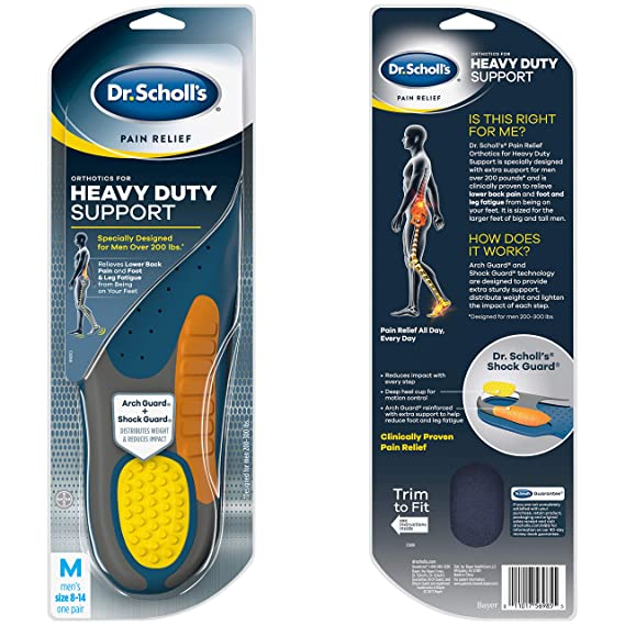 019dd83f0e290 Amazon.com: Dr. Scholl's HEAVY DUTY SUPPORT Pain Relief Orthotics (Men's  8-14) // Designed for Men over 200lbs: Health & Personal Care