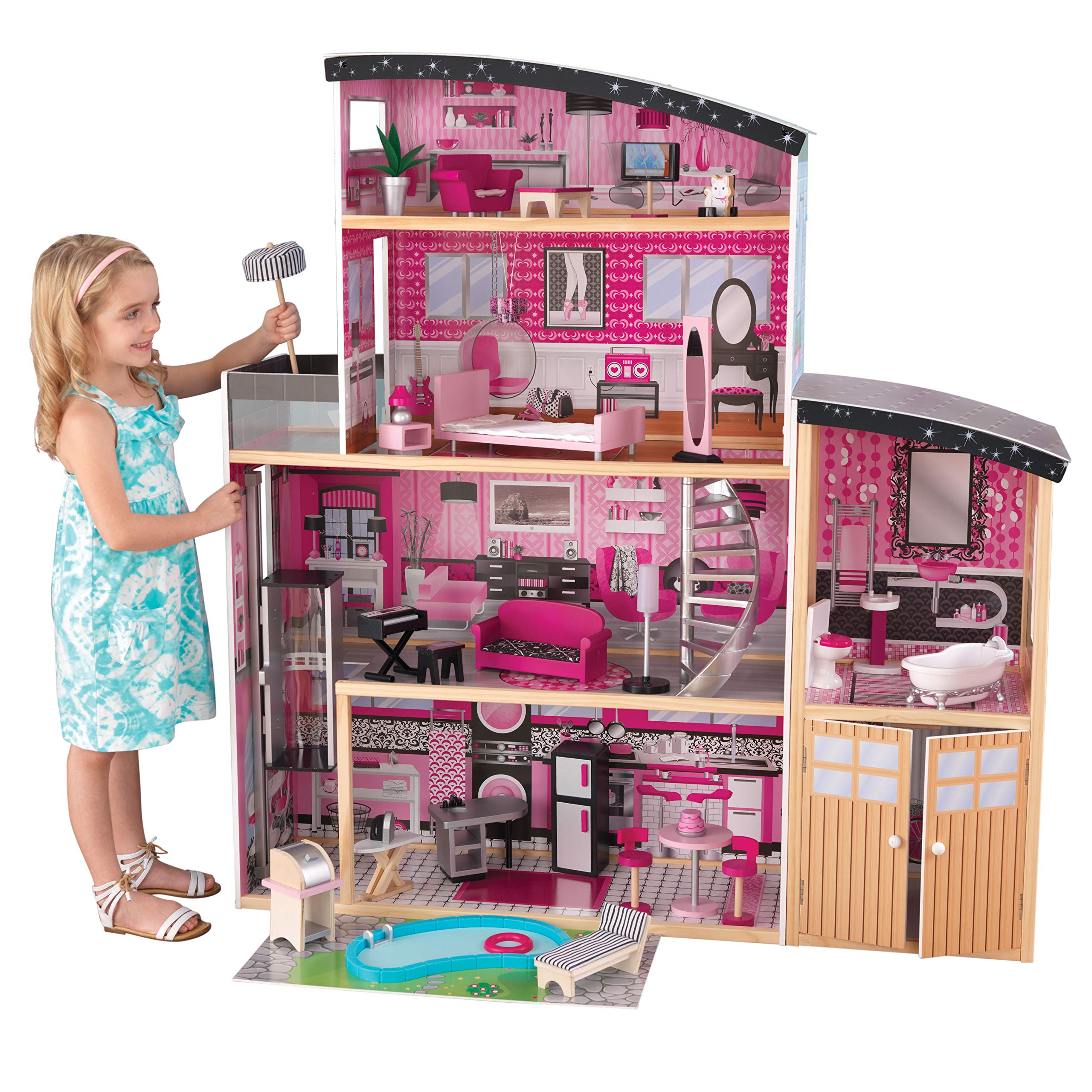 KidKraft Sparkle Mansion Wooden Dollhouse with Lights & Sounds, Swimming Pool, Balcony, Elevator and 30 Accessories, Pink ,Gift for Ages 3+