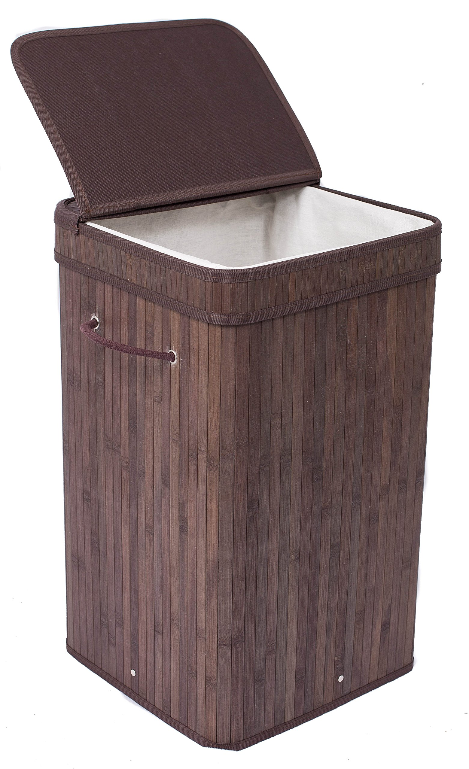 BirdRock Home Square Laundry Hamper with Lid and Cloth Liner | Bamboo | Espresso | Easily Transport Laundry Basket | Collapsible Hamper | String Handles