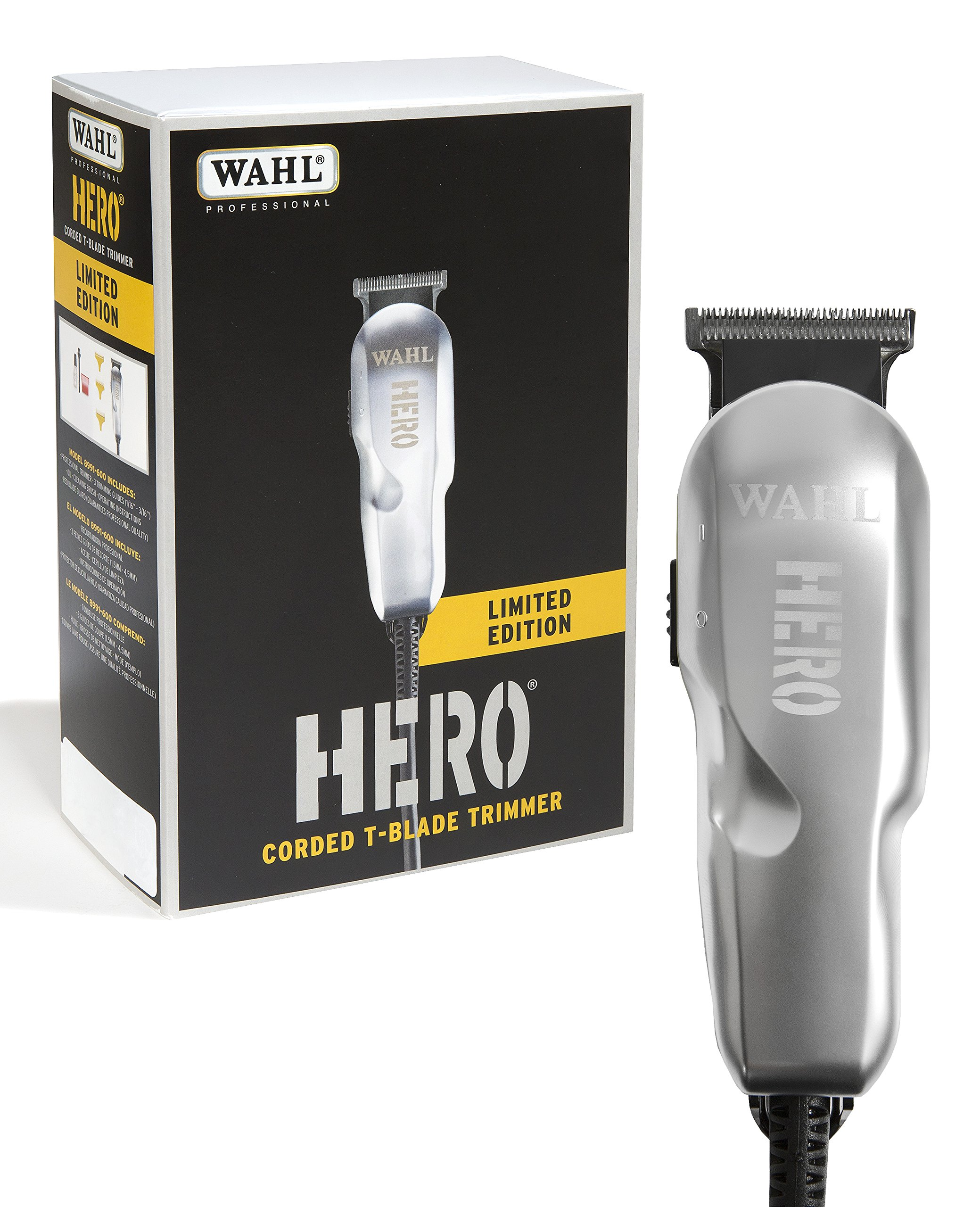 Wahl Professional Limited Edition Industrial Hero Trimmer #8991-600 - Great for Barbers and Stylists - Rotary motor T-Blade trimmer - Includes 3 Cutting Guides, Oil, and Cleaning Brush