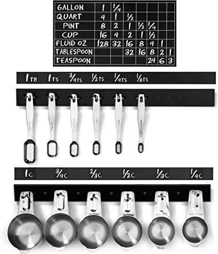 Great gift for cooks. Kitchen conversion chart with measuring cup /& spoon hooks