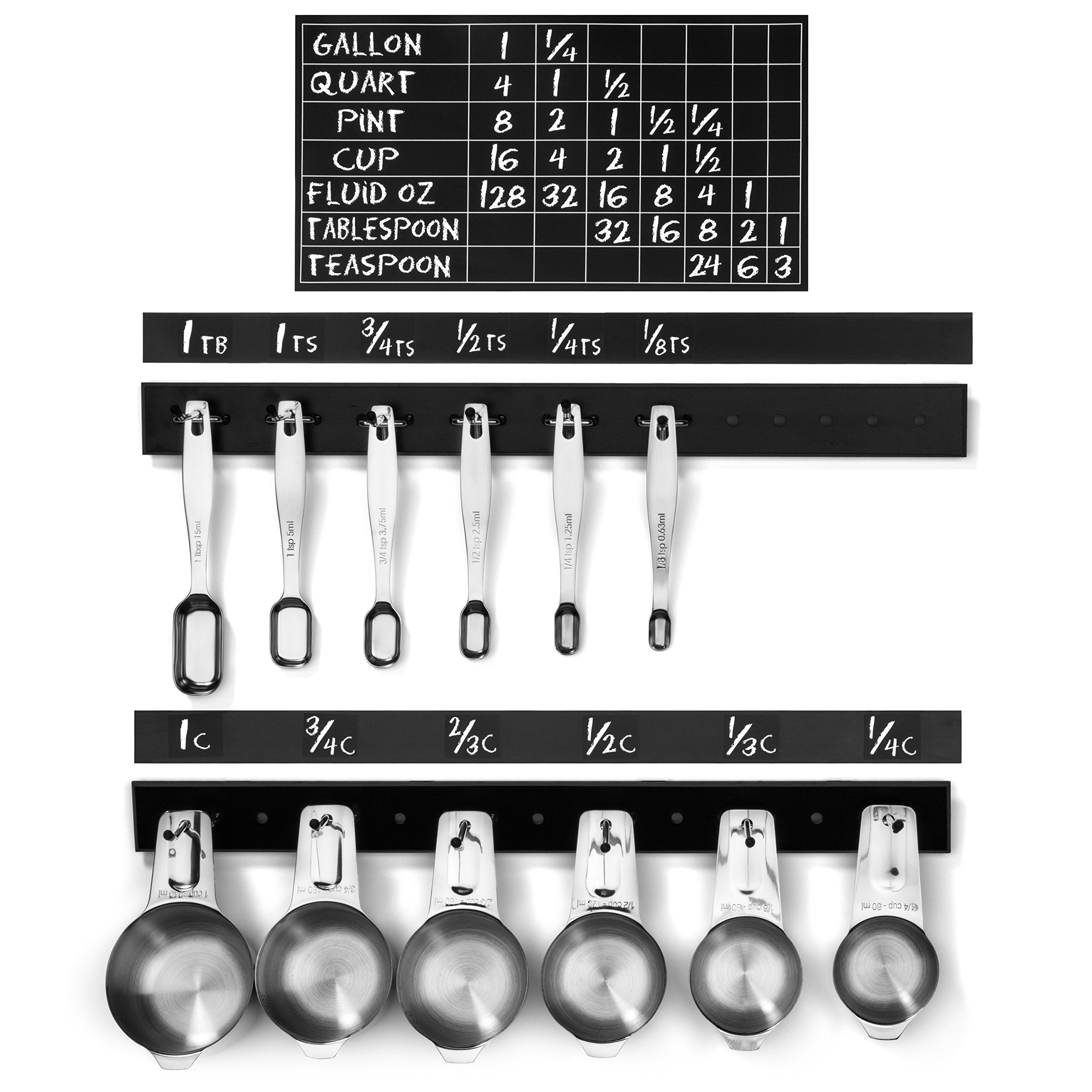 "N & P Products 17.5"" Measuring Cup & Spoons + In-Cabinet Door Hanging Holder Kit + Labels, Conversion Chart & BONUS Coffee Scoop! Perfect for Cooking and Baking! Easy to Install!"