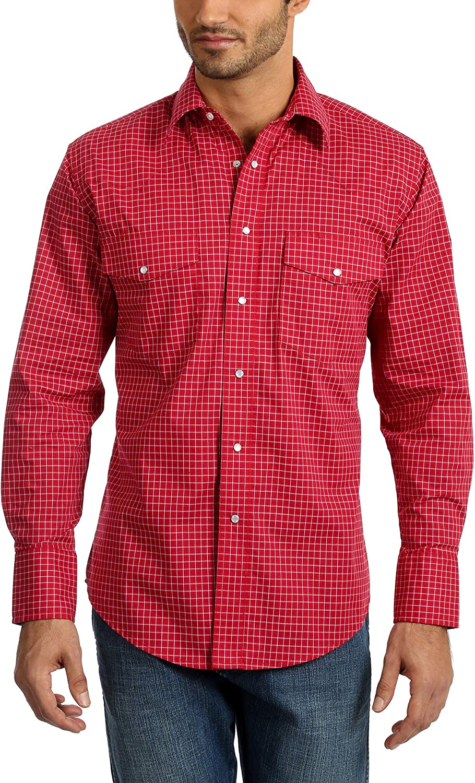 Wrangler Men's Wrinkle Resist Two Pocket Long Sleeve Snap Shirt