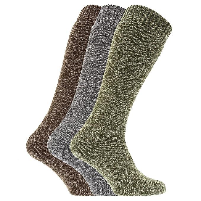 Universal Textiles Calcetines térmicos para botas de agua o campo con mezcla de lana para hombre