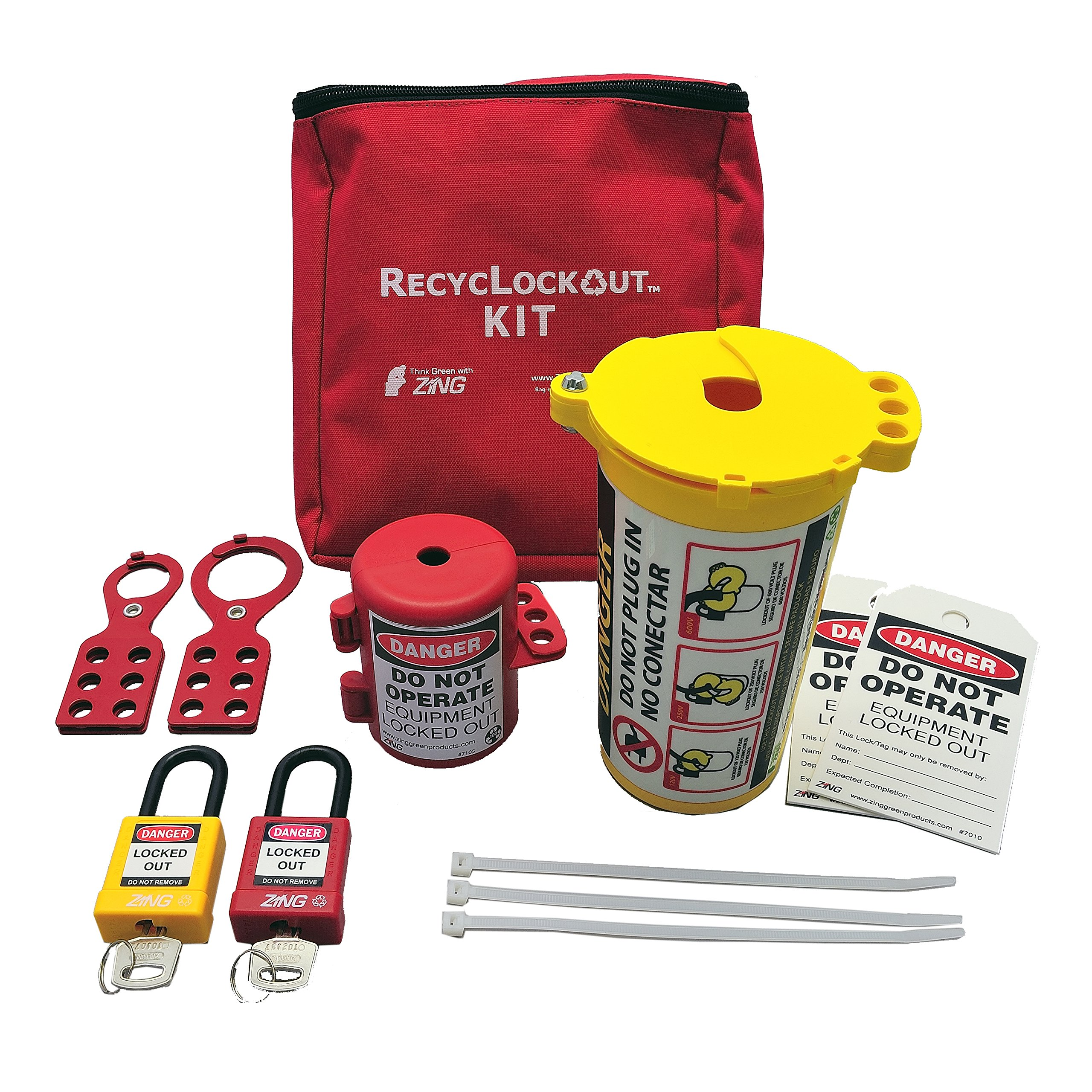 PortableLockoutKit, Filled, Electrical, Red by Zing