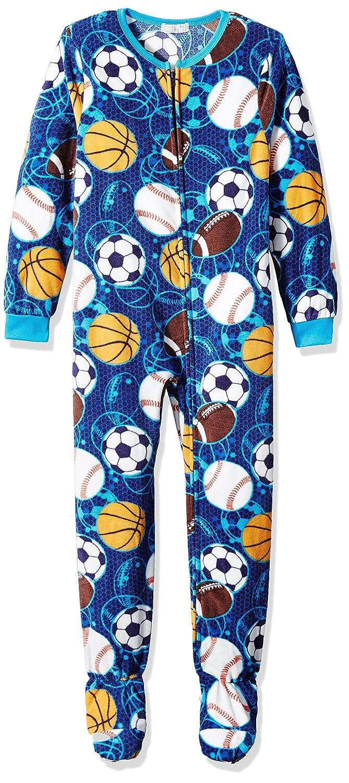 Komar Kids Boys' Big Sports Plush Velour Fleece Blanket Sleeper, Blue X-Small K172202
