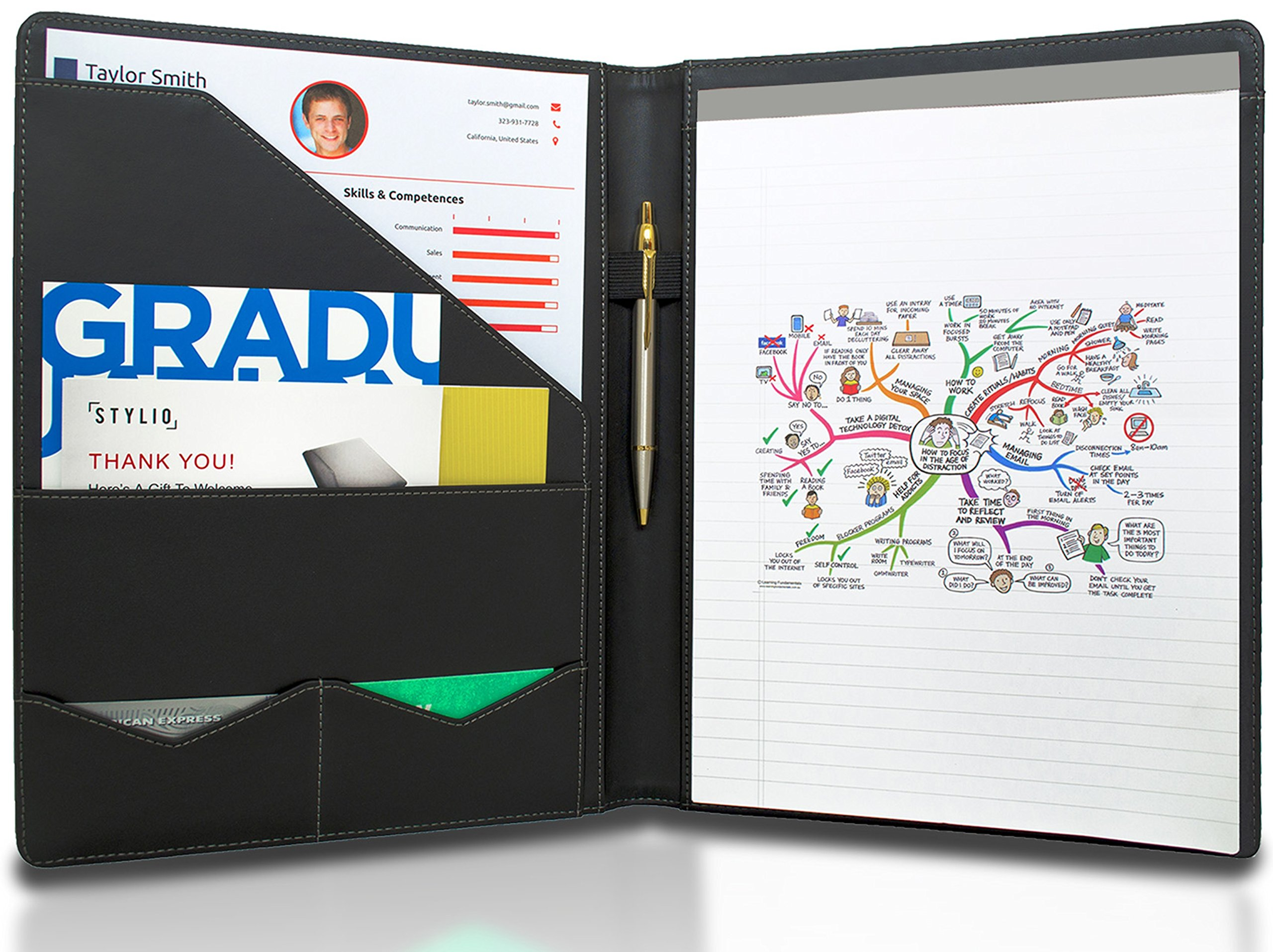 stylio padfolio resume portfolio folder interview legal product details