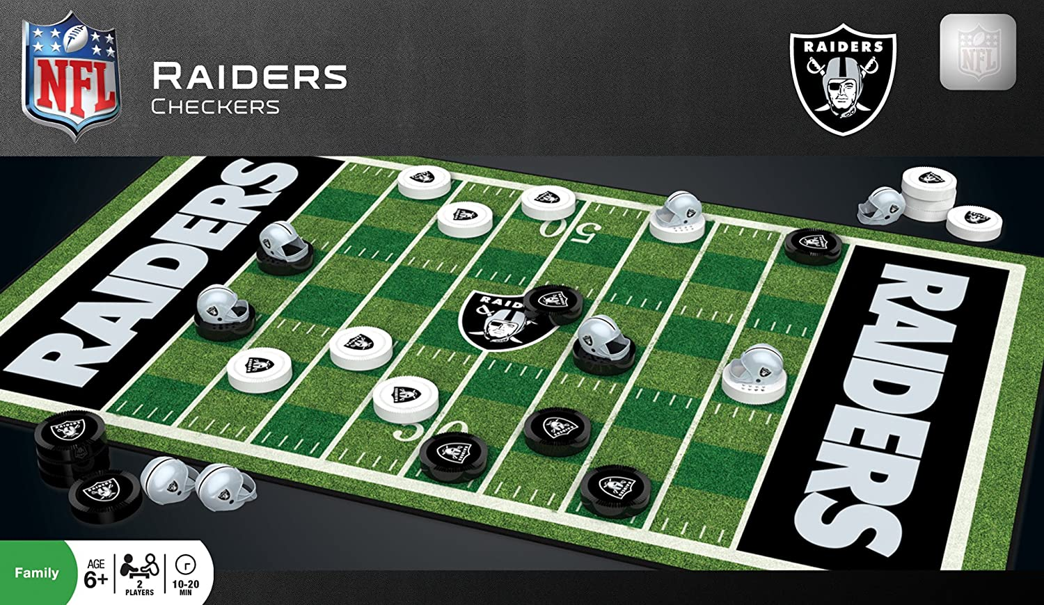 MasterPieces NFL Raiders Checkers Board Game