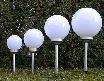 Led Solarleuchten Solarkugeln Milchglas Design 20 Cm Amazonde