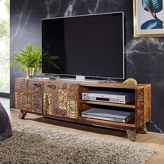 Finebuy Design Hifi Lowboard Carva Massivholz Vintage Tv Kommode 140 X 46 X 40cm Fernsehschrank Unterschrank Mit 2 Turen Fernsehtisch Ablagefach Fernsehkommode Tv Mobel Tv Board Wohnzimmer Amazon De Kuche Haushalt