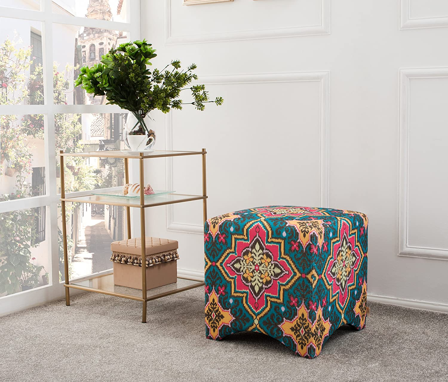 Jennifer Taylor Home Bentley Collection Bohemian Upholstered Accent Square Vanity Stool, Tango Blue