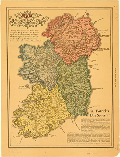 Map Of Ireland Islands.Historic Map Ireland 1926 Map Of Noble Erin Island Of Kings Showing The Localities And Titles Of The Principal Old Irish Families St Patrick S