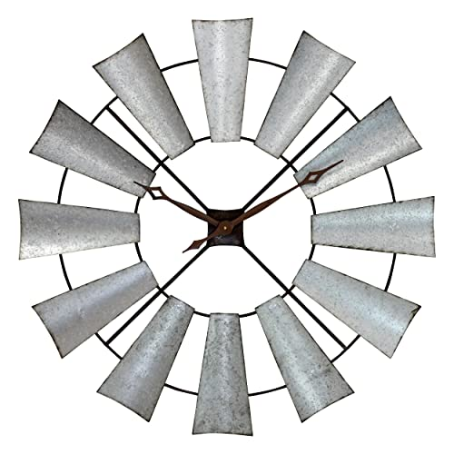 Aspire Farmhouse Windmill Wall Clock, Silver