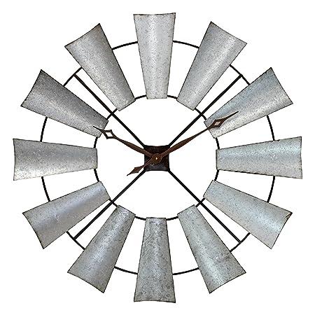 Aspire Farmhouse Windmill Wall Clock, Silver