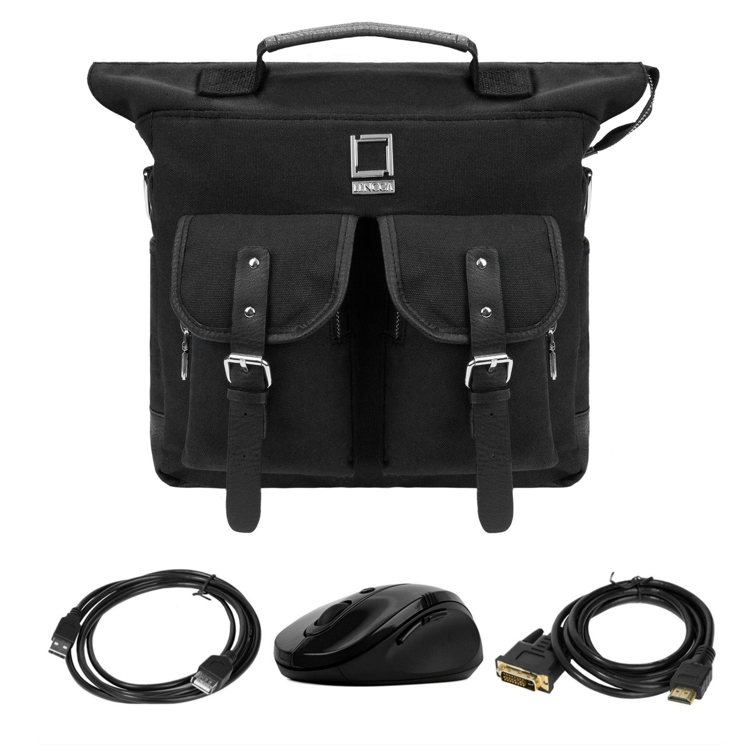 Lencca College Student Daypack / Satchel / Laptop Bag For Laptop Samsung Notebook 15.6'' Black & Computer Mouse & USB 2.0 Cable & HDMI Transfer
