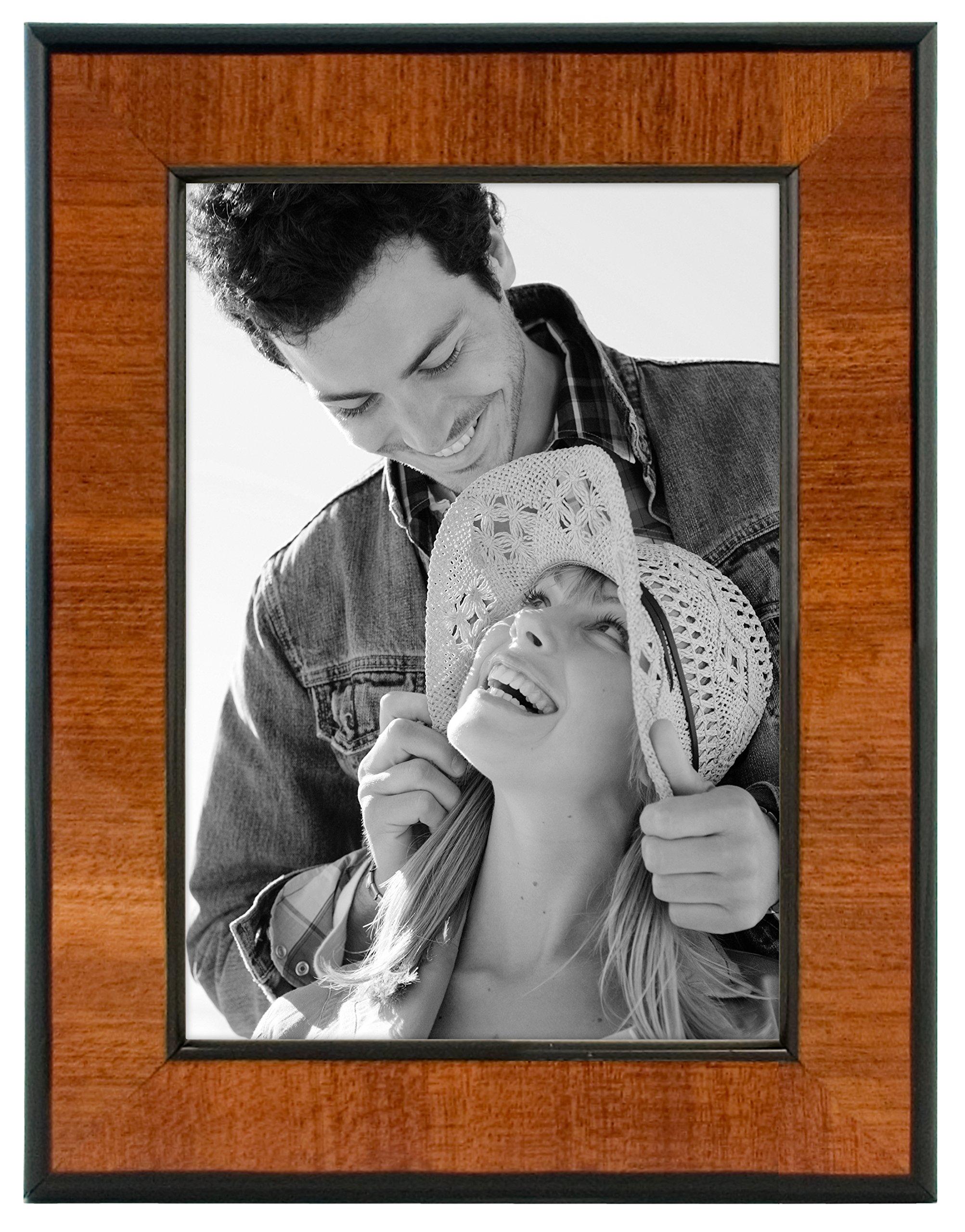 Malden International Designs Burl Wood Walnut Wooden Picture Frame with Black Border, 5x7, Walnut by Malden International Designs