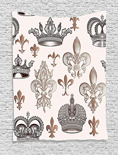 Ambesonne Fleur De Lis Tapestry, Crowns and Fleur-de-Lis Shapes in Engraved Style Fame Symbolic Artwork Print, Wall Hanging for Bedroom Living Room Dorm, 60 X 80 , Beige Tan