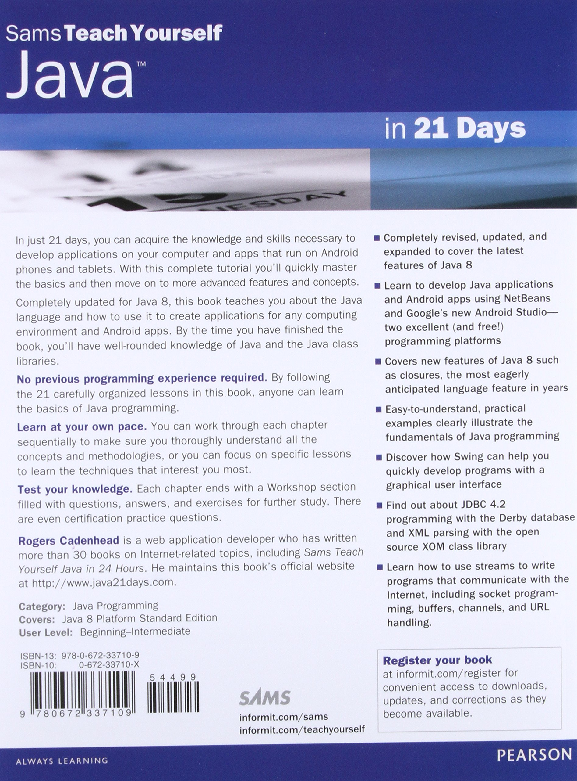 Java In 21 Days Sams Teach Yourself Covering Java 8 7th Edition